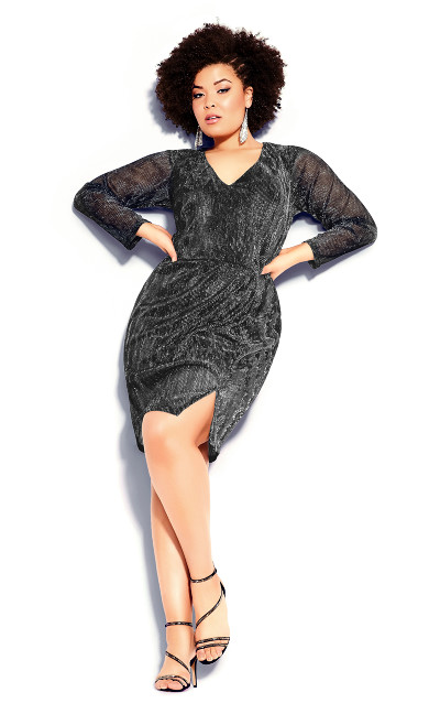 Plus Size Sparkle Dress - gunmetal