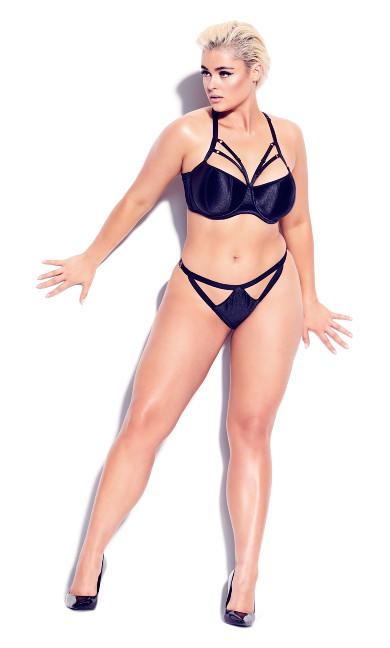 Plus Size Vixen Strappy Panty - black