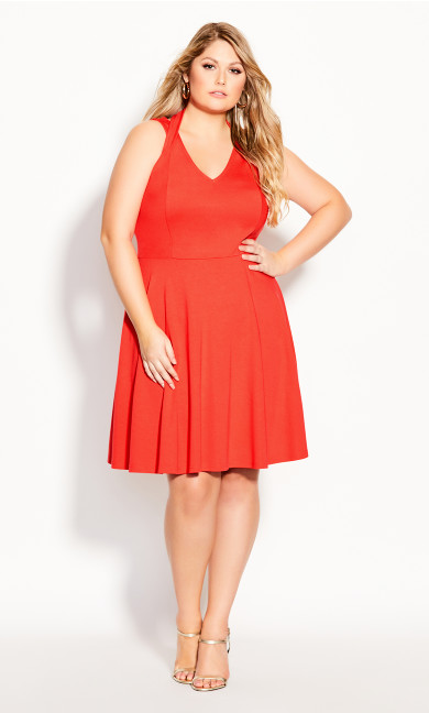 Plus Size Strappy Halter Dress - coral