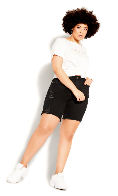 Plus Size Longline Distressed Short - black