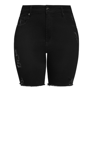 Longline Distressed Short - black