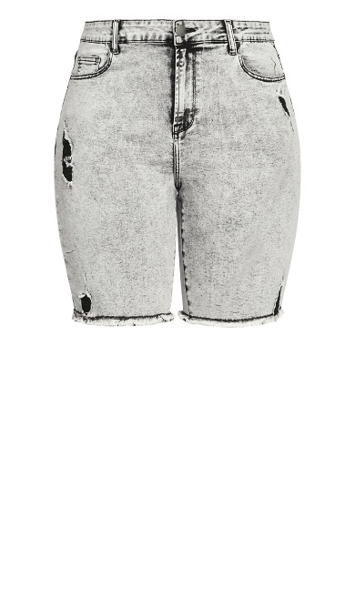 Longline Distressed Short - acid wash