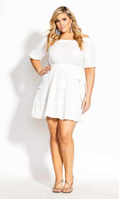 Fiesta Fringe Dress - ivory