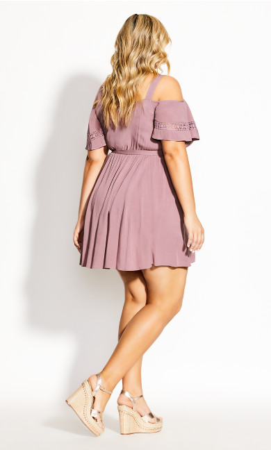 Trim Shoulder Dress - woodrose