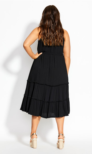 Fringe Tier Maxi Dress - black