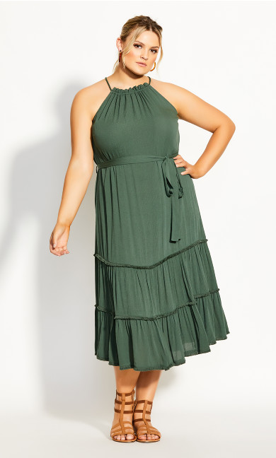 Fringe Tier Maxi Dress - jungle