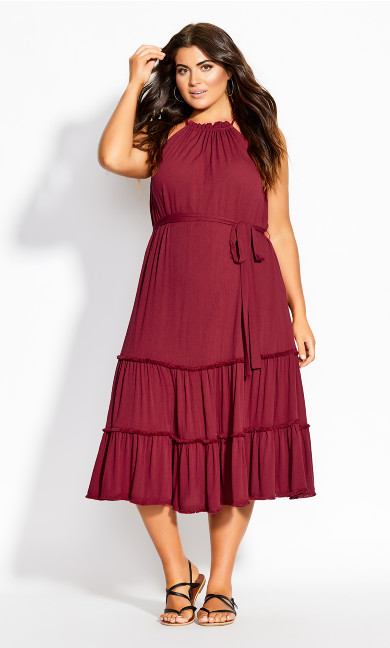 Fringe Tier Maxi Dress - rhubarb