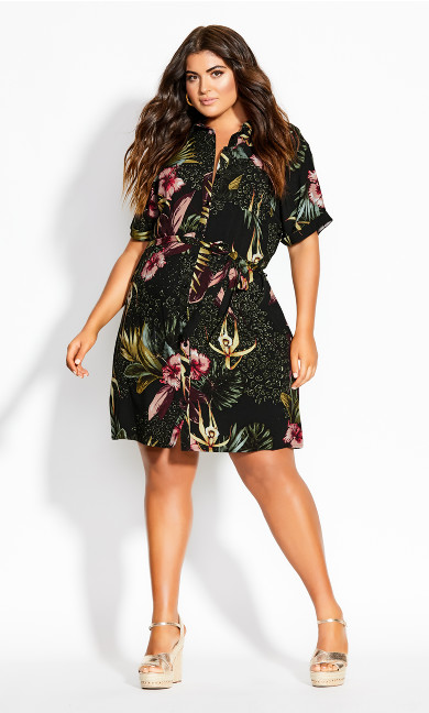 Phuket Shirt Dress - black