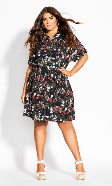 Tiger Shirt Dress - black