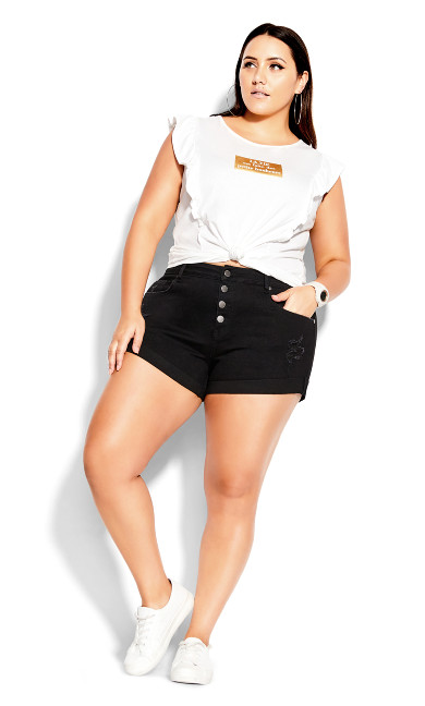 Denim Cuff Short - black