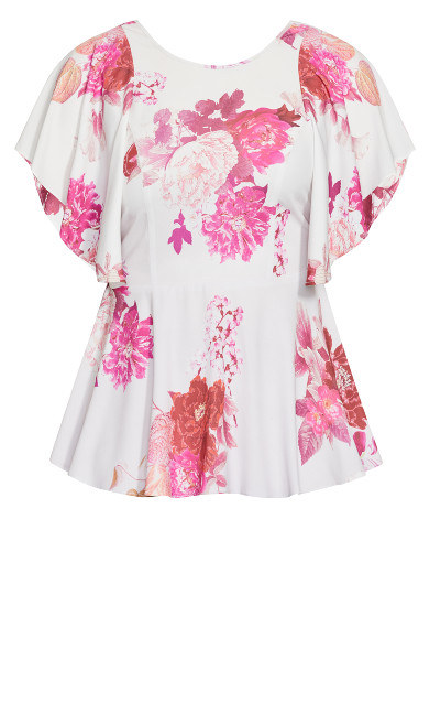 Sakura Floral Short Sleeve Top - dusk