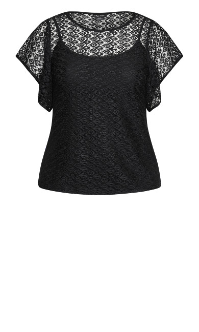 Crochet Charm Top - black