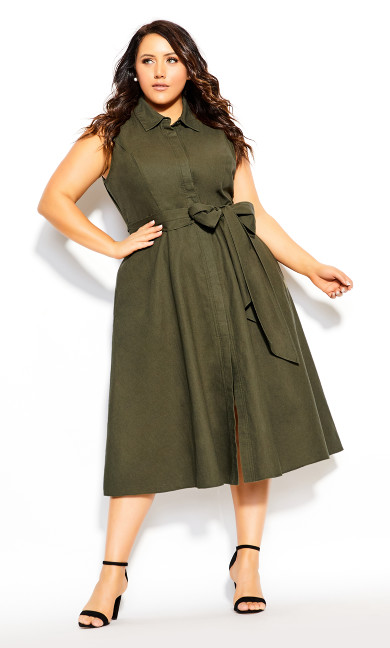 Plus Size Shirt Detail Dress - khaki