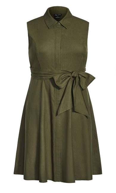 Shirt Detail Dress - khaki