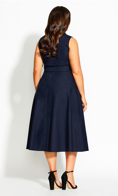 Shirt Detail Dress - navy