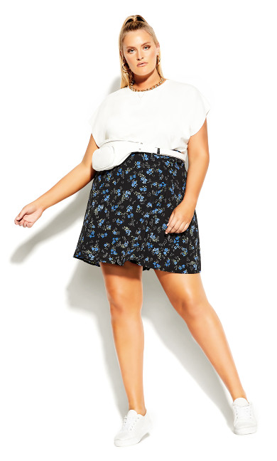 Ditsy Blues Skirt - black