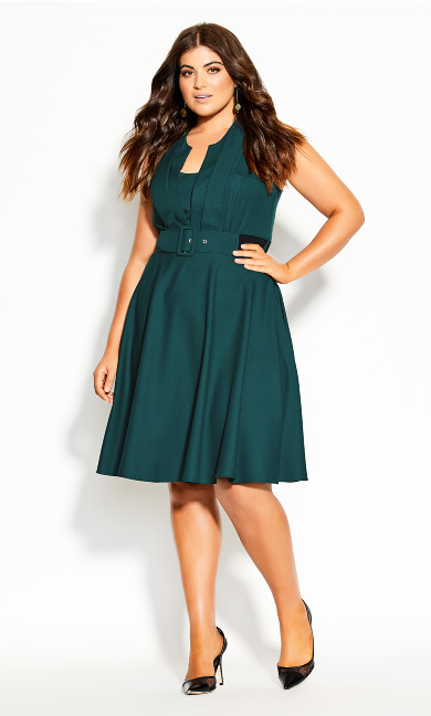 Plus Size Vintage Veronica Dress - forest