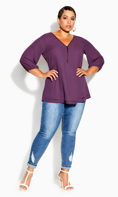 Plus Size Sexy Fling Elbow Sleeve Top - orchid