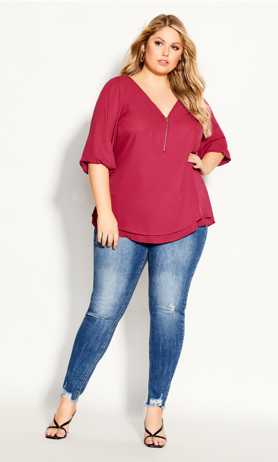 Plus Size Sexy Fling Elbow Sleeve Top - magenta