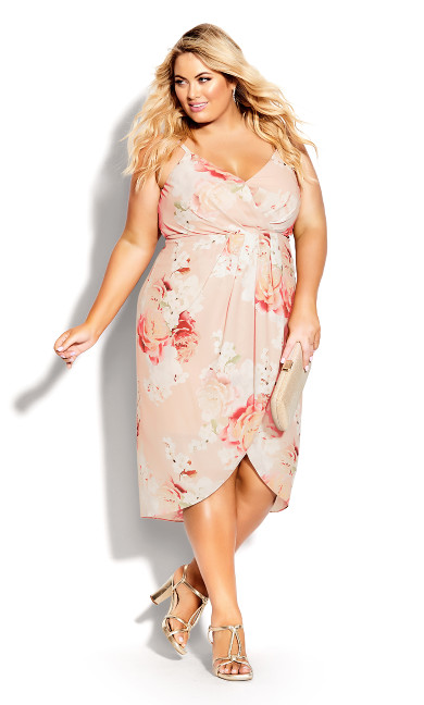 Plus Size Powder Floral Dress - powder