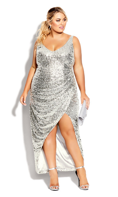 Plus Size Star Desire Maxi Dress - silver