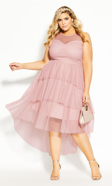 Plus Size Mesh Bardot Maxi Dress - pink