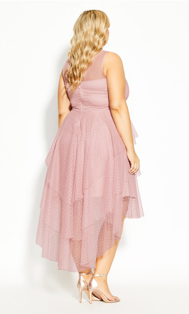 Mesh Bardot Maxi Dress - pink