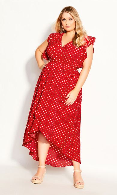 Plus Size Red Love Maxi Dress - red