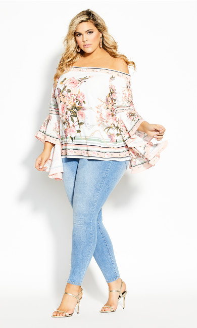 Plus Size Sierra Scarf Top - ivory