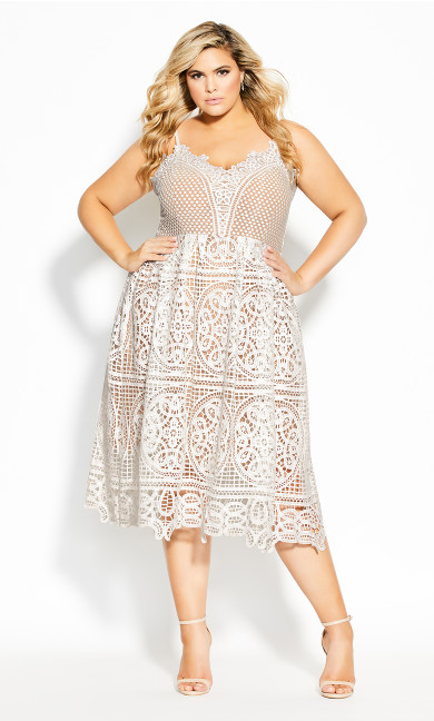 Plus Size Fancy Free Dress - ivory