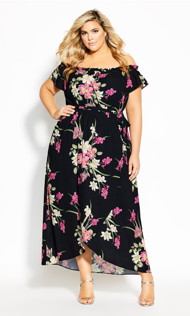 Lady Floral Maxi Dress - black