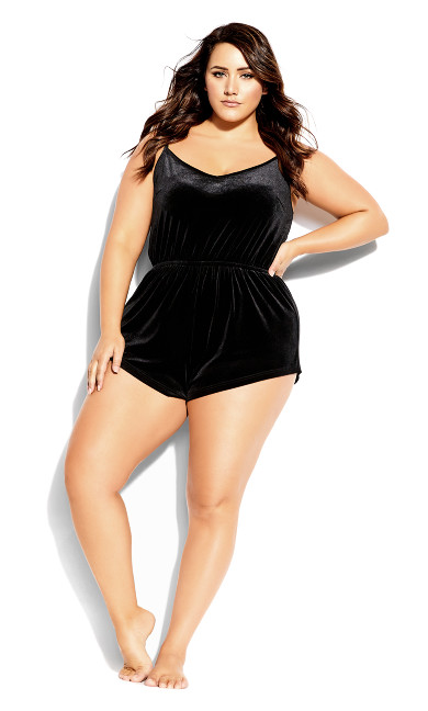 Plus Size CCX Velour Playsuit - black