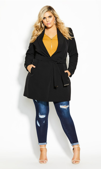 Plus Size Miss Sleek Trench - black