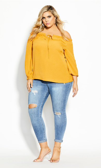 Plus Size Off Shoulder Sass Top - butterscotch