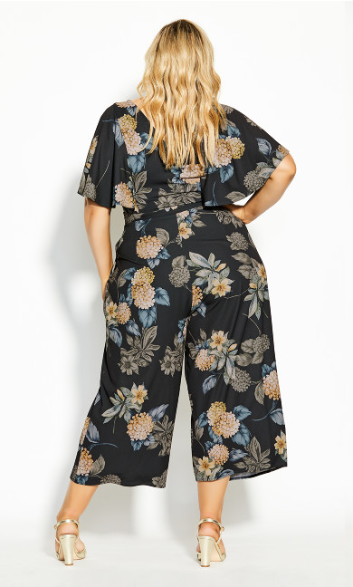 Golden Floral Jumpsuit - black