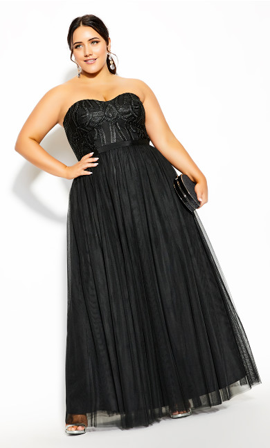 Plus Size Antonia Maxi Dress - black