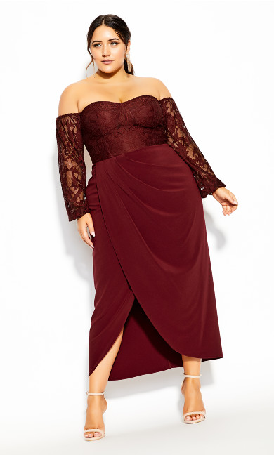 Plus Size Romantic Rosa Maxi Dress - bordeaux
