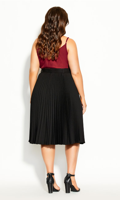 Pleated Belt Skirt - black