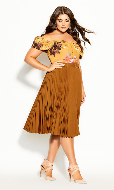 Plus Size Pleated Belt Skirt - copper