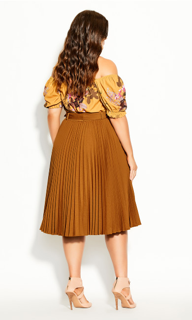 Pleated Belt Skirt - copper