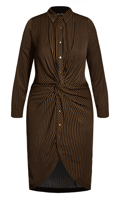 Twisted Stripe Dress - copper