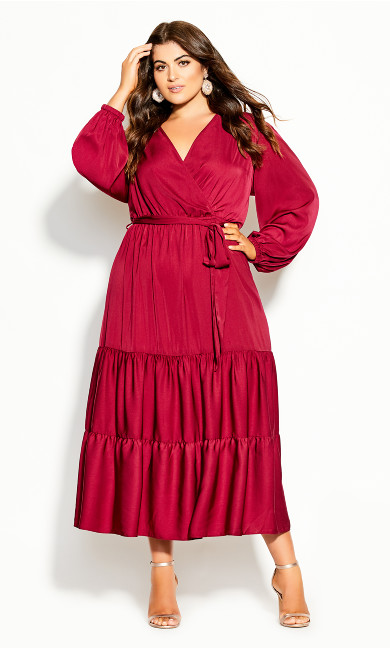 Plus Size Pretty Tier Maxi Dress - sangria