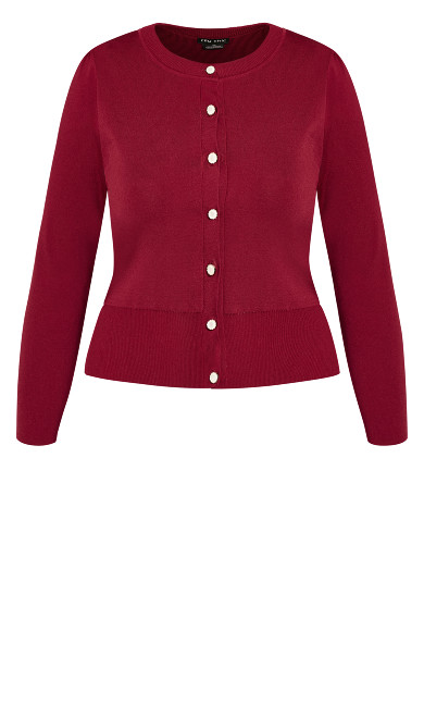 Luxe Button Cardigan - sangria