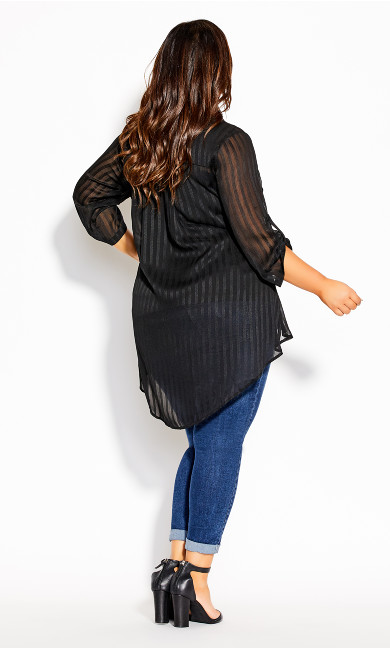 Elegant Stripe Shirt - black