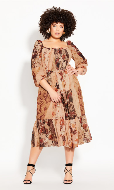 Plus Size Paisley Puzzle Dress - ochre