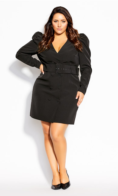 Plus Size Belted Tux Dress - black