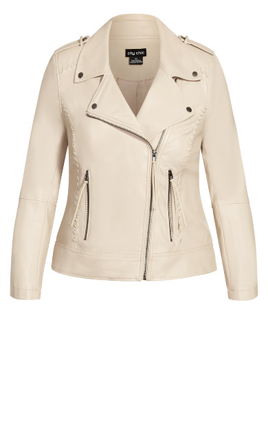 Whip Stitch Biker Jacket - straw