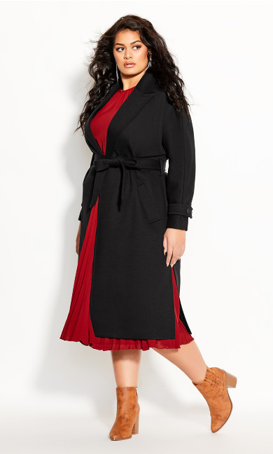 Plus Size Clean Tie Coat -black
