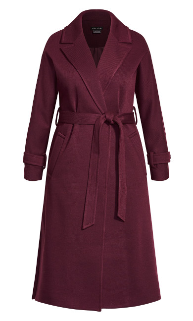 Clean Tie Coat - plum