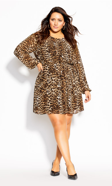 Plus Size Cute Animal Dress - ochre